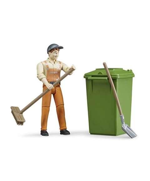 Muñeco limpieza cubo basura